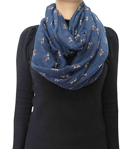 Lina & Lily Beagle Dog Print Infinity Loop Scarf for Women Lightweight (Navy Blue)