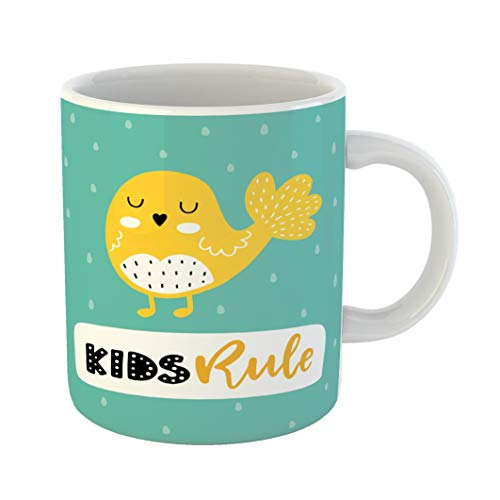 - Emvency 11 Ounces Coffee Mug Blue Kids Colorful Childish Lettering in Scandinavian Creative Bird and Phrase Baby Black White Ceramic Glossy Tea Cup With Large C-handle