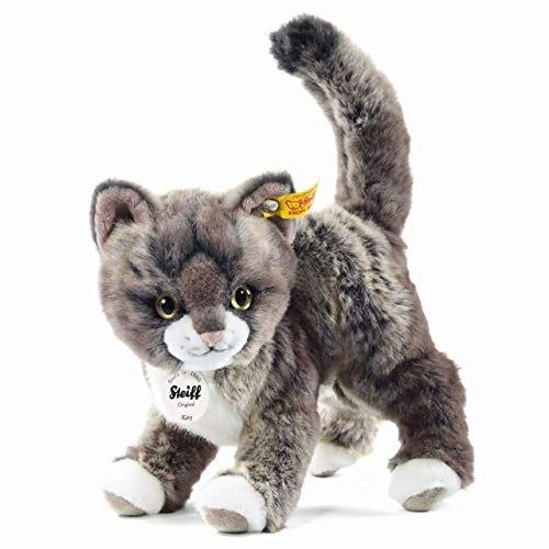 Steiff Kitty CAT Grey Tabby 9.8 inches 25cm Woven Fur Plush Toy from Steiff
