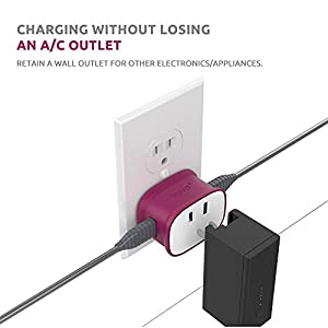 VOJO (3 Pack) 2.4A Dual USB Wall Charger with AC Outlet, BONE 12W Max Adaptive Fast Charging Power Adapter (GOOD FOR IPAD & DON'T SUPPORT QUALCOMM QUICK CHARGE)