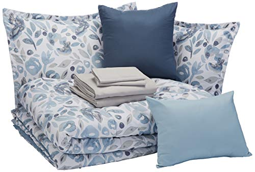 AmazonBasics 10-Piece Comfoter Bedding Set, Full / Queen, Blue Watercolor Floral, Microfiber, Ultra-Soft (Floral Bedding And White Navy)