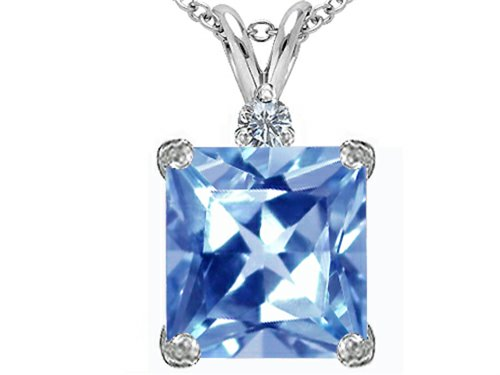 (Star K Large 12mm Square Cut Simulated Aquamarine Pendant Necklace Sterling Silver )