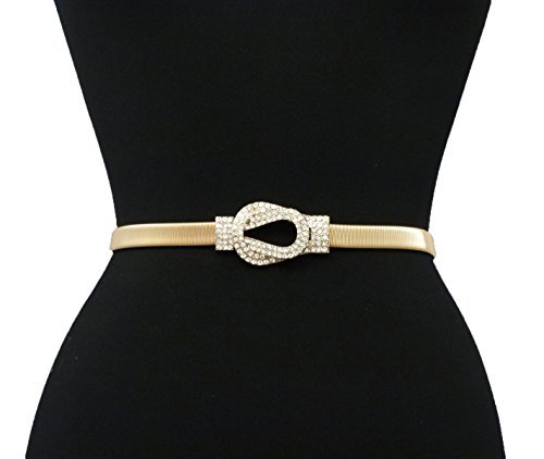 Rhinestone Knot Buckle Piece Stretch Waist Chain Belt Gold, Black Tone