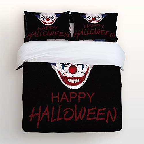 King Size 4 Piece Duvet Cover Set Cute Soft Bed Sheet Sets with Zipper,Happy Halloween Horrible Clown Pattern Comforter Cover Bedding Sets,Include 1 Duvet Cover+1 Bed Sheets+2 Pillow Case