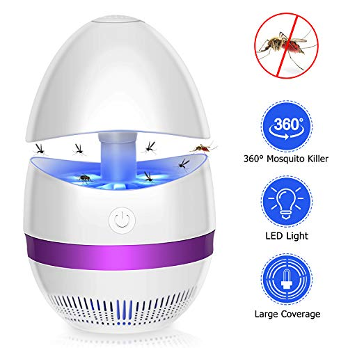 SUNNEST Bug Zapper, Electronic Mosquito Killer Light, LED Insect Killer Lamp, USB Powered, Built-in Fan Insect Trap, Mosquito Catcher Killer for Indoor Home Bedroom Kitchen Garden Office (Egg Shape)