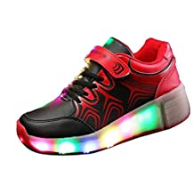 Eagsouni Kids LED Light Roller Skate Shoes with Wheels Flashing Sneakers Single Wheel Luminous Heelys