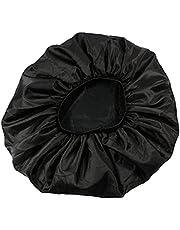 Slaapdop Dames Satijn Bonnet Slaap Bonnet Cap Extra Large Double Layer Design Satin Cap Soft Elastic Sleeping Hair Bonnet 1pc Zwart