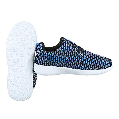 64f0366312a77b Ital-Design Low-Top Sneaker Damenschuhe Low-Top Sneakers Schnürsenkel Freizeitschuhe  Blau SW15715 ...