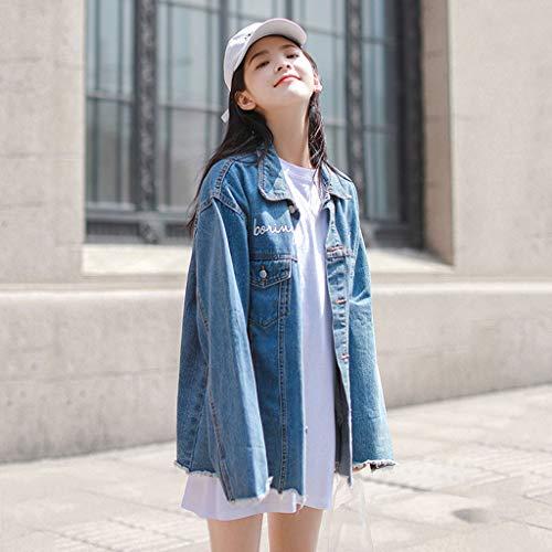 Allentato Lunghe Blu Denim colore In Con Giacca Nz Maniche L Blu Donna Lunga Da Dimensioni Ricamata Uomo PqwIP6OX