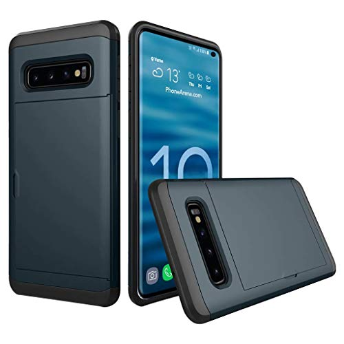Silica Gel Case - Wallet Case Cover for Galaxy S10E,Card Holder ID Sliding Slot Case Dual Layer Protective Shockproof Anti-Scratch Brushed Hard PC+Silica Gel Case for Samsung Galaxy S10E 5.8 inch (Dark Blue)