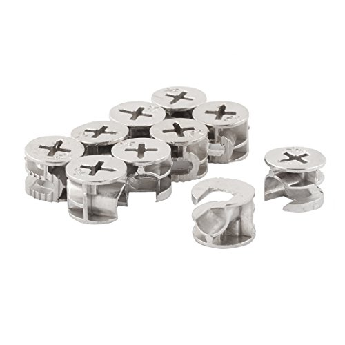 10 Pcs Silver Tone Head Furniture Connecter Cam Lock Fittings