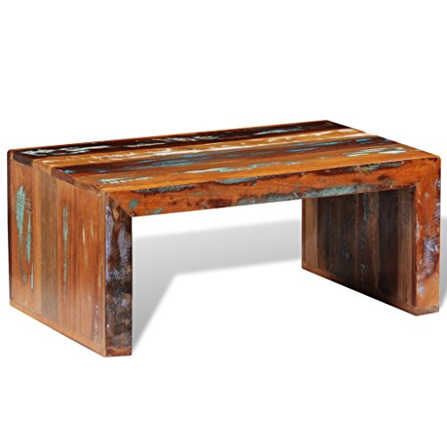 Festnight Antique-style Coffee Table Reclaimed Wood Pure Han
