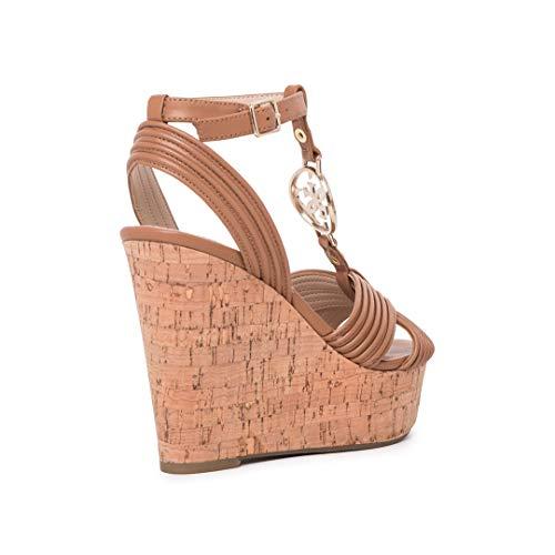 Mujer F61qy7 Zapatos Guess De Con Sandalias Marrón Wehdi92y Cuña cA3R4jq5L