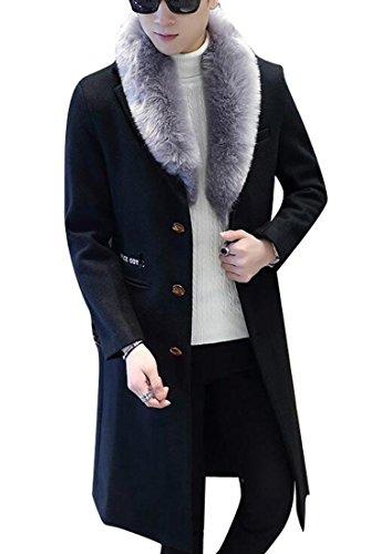 ARTFFEL Mens Warm Single Breasted Faux Fur Collar Long Outdoor Wool Pea Coat Overcoat Black L - Fur Single Breasted Coat