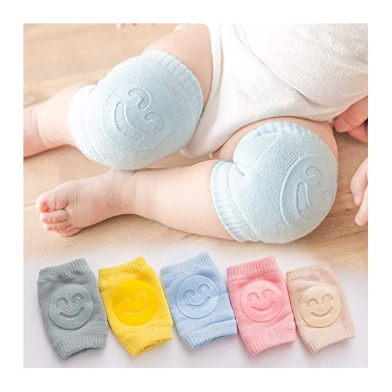 Nyarra Smiley Baby Knee Pads for Crawling, Elbow Safety Protector, Stretchable Anti-Slip Padded Elastic Soft Cotton