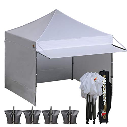 ABCCANOPY 10x10 EZ Pop up Canopy Tent Instant Shelter Commercial Portable Market Canopy with with Full Walls & Awnings & Wheeled Bag Bonus 4 Weight Bag