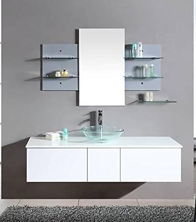 mobile arredo bagno da 140cm sospeso bianco con lavabo dappoggio e specchio con mensole
