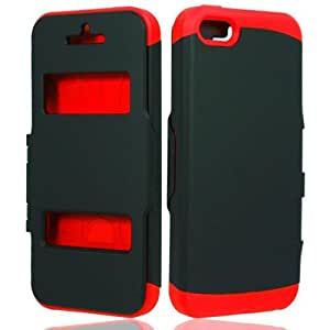 Black Red Screen Cover Hard Cover Case for Apple iPhone 5C H3I4