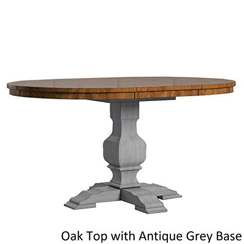 Inspire Q Eleanor Two-Tone Oval Solid Wood Top Extending Dining Table by Classic Grey Antique, Grey Finish, Oak Finish