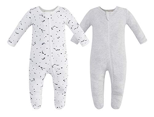 Owlivia Organic Cotton Baby Boy Girl 2 Pack Zip Front Sleep 'N Play, Footed Sleeper, Long Sleeve (Size 0-18 Month)(12-18Months,Gray Melange+Blue Star)