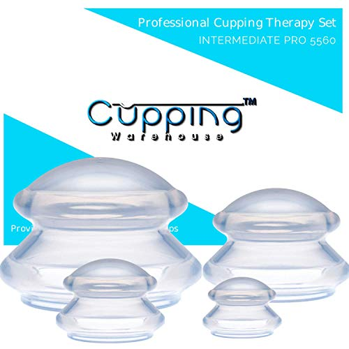 Cupping Warehouse TM Supreme Intermediate PRO 5055 8 Cups (4 Sizes) Professional and Home Use: Clear Chinese Silicone Massage Cupping Therapy Sets Vacuum Suction Cups