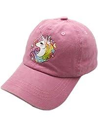 Waldeal Printing Adjustable Cute Unicorn Kids Girls Dad Hats Vintage Washed Cotton Denim Baseball Cap Pink