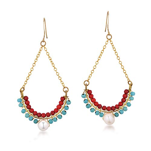 Reconstructed Red Coral & Simulated Turquoise & Cultured Freshwater Pearl Dangle Earrings
