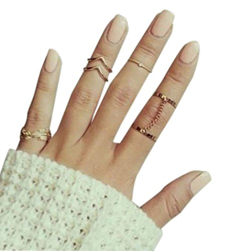 Leaf Marcasite Ring (WYTong Fashion Ladies Girls Knuckle Ring Set Finger Rings 6pcs Leaf V Stack Band Mid Rings (Gold))
