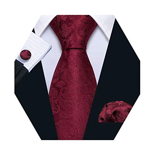 Barry.Wang Silk Burgundy Tie Pocket Square Cufflinks Set for Men Necktie Set