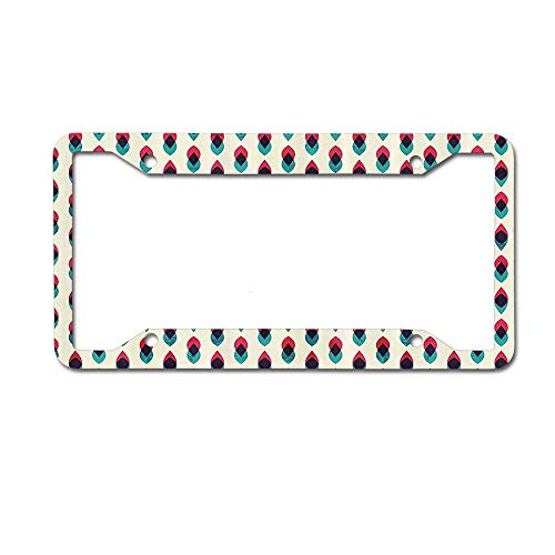 (keyishangmaoLu Vintage Geometric Retro Curve Pattern Grunge Style Ethnic Traditional Design Blue Red Cream License Plate Frame Aluminum License Plate Frame Car Tag Cover 4 Holes and Screws)