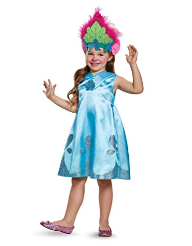 Dreamworks Trolls Poppy Girls' Deluxe Costume (Small (Trio Halloween Costumes For Girls)