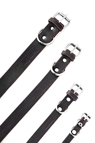 Pictures of Mighty Paw Leather Dog Collar Super Soft Brown 5
