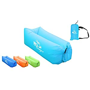 US Lounger Sky Blue Fast Inflatable Portable Outdoor or Indoor Wind Bed Lounger, Air Bag Sofa, Air Sleeping Sofa Couch, Lazy Bed for Camping, Beach, Park, Backyard