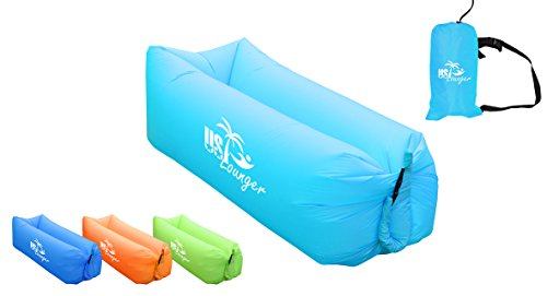 US Lounger Sky Blue Fast Inflatable Portable Outdoor Or Indoor Wind Bed  Lounger, Air Bag