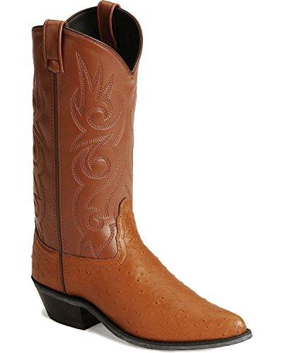 Old West Men's Fancy Stitched Ostrich Print Cowboy Boot Pointed (Fancy Cognac)