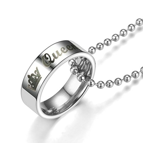 fashionlife2018 Her King His Queen Couple Rings Necklace Wedding Anniversary Gifts His and Her Promise Ring Titanium Steel Ring Necklaces by fashionlife2018