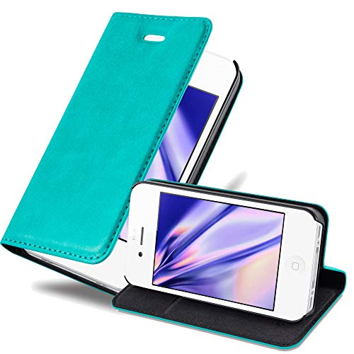 Cadorabo Book Case Works with Apple iPhone 4 / iPhone 4S in Petrol Turquoise - with Magnetic Closure, Stand Function and Card Slot - Wallet Etui Cover Pouch PU Leather Flip (Case Turquoise 4s Iphone)