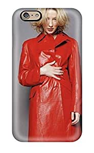 AnnaSanders Case Cover Protector Specially Made For Iphone 6 Cate Red Coat Blonde Hair Leather People Women