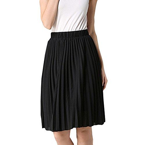 72dbadc1ec6 delicate FineLook Womens Double Layer High Waist Chiffon Pleated Knee Long  Skirt