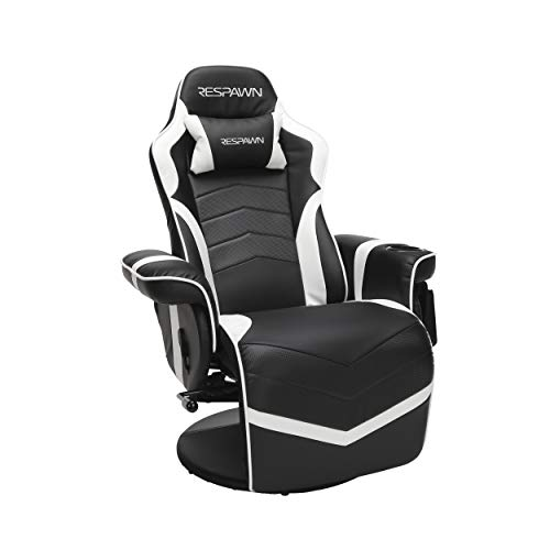RESPAWN-900 Racing Style Gaming Recliner, Reclining Gaming Chair, in White - Plush Recliner Chair