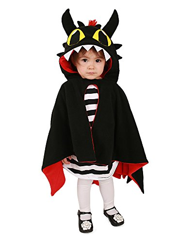 Dragon Girl Halloween Costume (Miccostumes Kids Dragon Little Devil Halloween Cosplay Cloak with Horns Tail (One size))