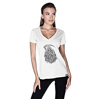 Creo Death Skull Bikers T-Shirt For Women - S, White