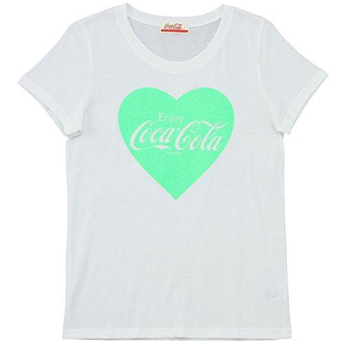 余剰あそこがっかりするCoca-Cola(コカ?コーラ) レディースTシャツ 蛍光ハート ホワイトXグリーン