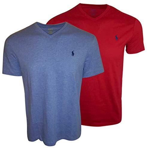 Polo Ralph Lauren Men's V-Neck T-Shirt Bundle 2019 Model (Large, Red/Blue)
