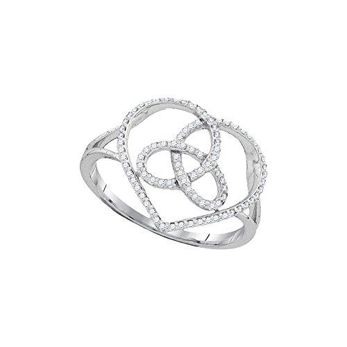 10k White Gold Round Diamond Heart Triquetra Trinity Ring (1/6 Cttw)
