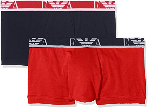 Emporio Armani Men's Stretch Cotton Eagle Logo Trunks, 2-Pack, Red/Marine, - Emporio Armani Logo
