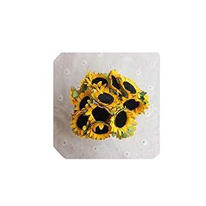 6 PCS The Simulation Flower Bouquets of Cute Little Sunflower Sunflower Silk Flowers Artificial Flowers 9 cm,Sunflowers Flowers 7