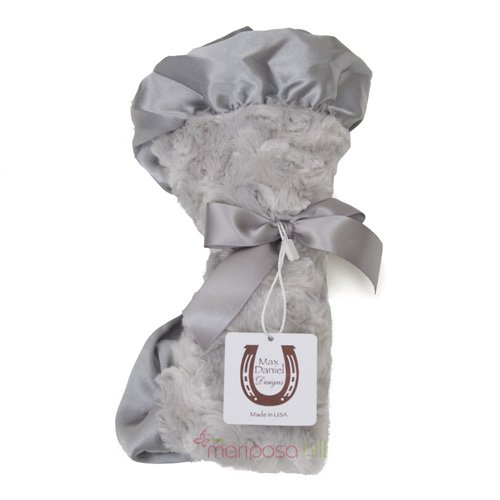 Soft Grey Security Blanket with Silk Trim