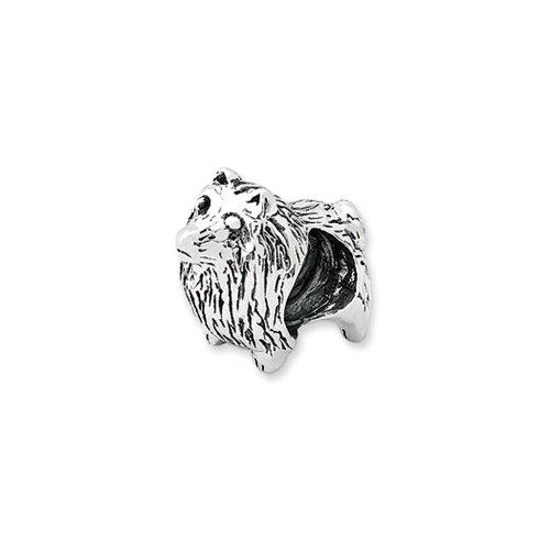 Pomeranian Dog Charm in Silver for 3mm Charm - Dog Pomeranian Charm