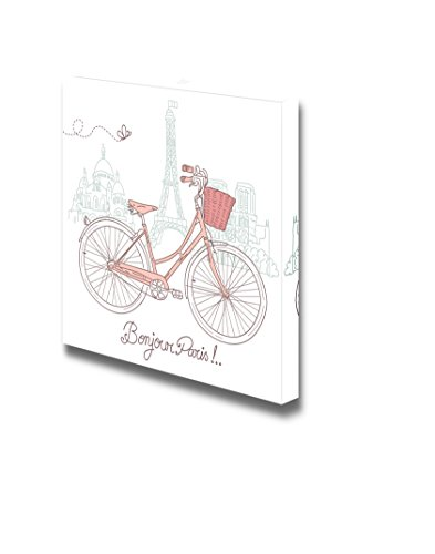 wall26 - Canvas Prints Wall Art - Riding a Bike in Style, Romantic Illustration from Paris | Modern Wall Decor/Home Decoration Stretched Gallery Canvas Wrap Giclee Print. Ready to Hang - 12
